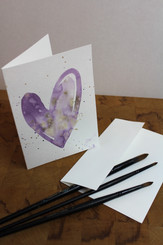J Gleadhill Hand-Painted Art Card - Purple Heart