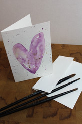 J Gleadhill Hand-Painted Art Card - Pinky-Purple Heart