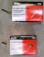 "Acco Brass Brad Fasteners 1"" long 100pk"