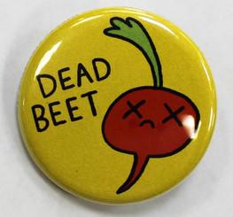 """Button Pin 1.25"""" Dead Beet"""
