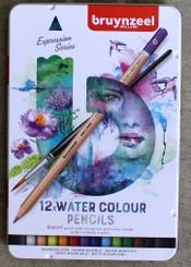 Bruynzeel Watercolour Pencils Tin Set 12pk with brush