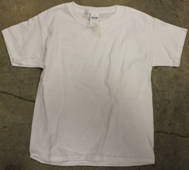 Gildan 100% Cotton T-shirt White Youth Medium