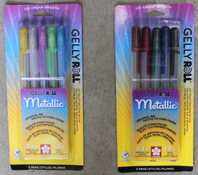 Gelly Roll Metallic Gel Pens #10 (.4mm line) 5pk Dark