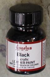 Angelus Leather Paint 1oz Bottle with Brush Black
