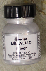 Angelus Leather Paint 1oz Bottle with Brush Silver