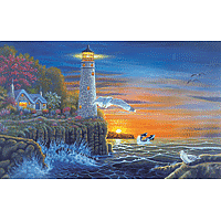 Paint by Numbers Kit Large Set Waterside Lighthouse
