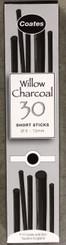 Coates Willow Charcoal Assortment 30pk (3mm-12mm diametre)