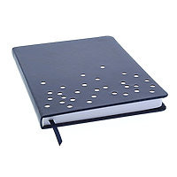 """Lined Journal Hard Cover 6x8"""" Navy Dot with ribbon bookmark"""