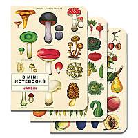Cavillini Mini Notebooks 3pk Le Jardin (Fruit / Veg / Fungi)