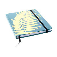 """Lined Journal Hard Cover 6x8"""" Turquoise/Gold Palm with ribbon & elastic"""