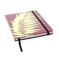 """Lined Journal Hard Cover 6x8"""" Berry Red/Gold Palm with ribbon & elastic"""
