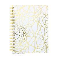 "Dot Journal Hard Cover Coil 6x8"" White/Gold"