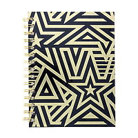 """Lined Journal Hard Cover Coil 6x8"""" Black/Gold Graphic Stars"""