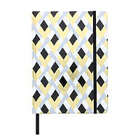 """Lined Journal Hard Cover 6x8"""" B/W & Gold Diamonds with ribbon & elastic"""