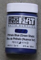 Golden SoFlat Matte Opaque Acrylic 2oz Phthalo Blue (green shade) Sr 4