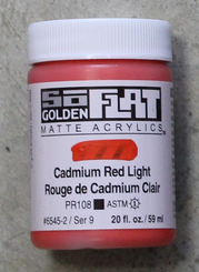 Golden SoFlat Matte Opaque Acrylic 2oz Cadmium Red Light Sr 9