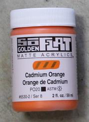 Golden SoFlat Matte Opaque Acrylic 2oz Cadmium Orange Sr 8