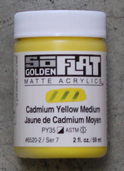 Golden SoFlat Matte Opaque Acrylic 2oz Cadmium Yellow Medium Sr 7