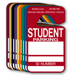 Student Parking Pass Hang Tags are in stock and ready to ship.