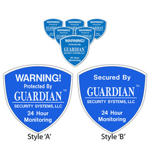 Security Alarm Stickers – 6 Pack – Available in face or back adhesive. These bright easy to read Security Alarm Stickers are the perfect addition to your home or business. They warn would be burglars that an alarm system is present. Easy to install in minutes ... security alarm stickers just peel and stick.