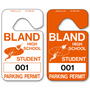 Parking Hang Tags allow endless design possibilities and project a professional image. Available in over 30 Stock Ink Colors or unlimited custom colors. These durable Parking Hang Tags are printed on heavy duty .035 inch material to give you the strongest parking permit available. Order today and get Free Setup, Free Numbering and Free Logo.