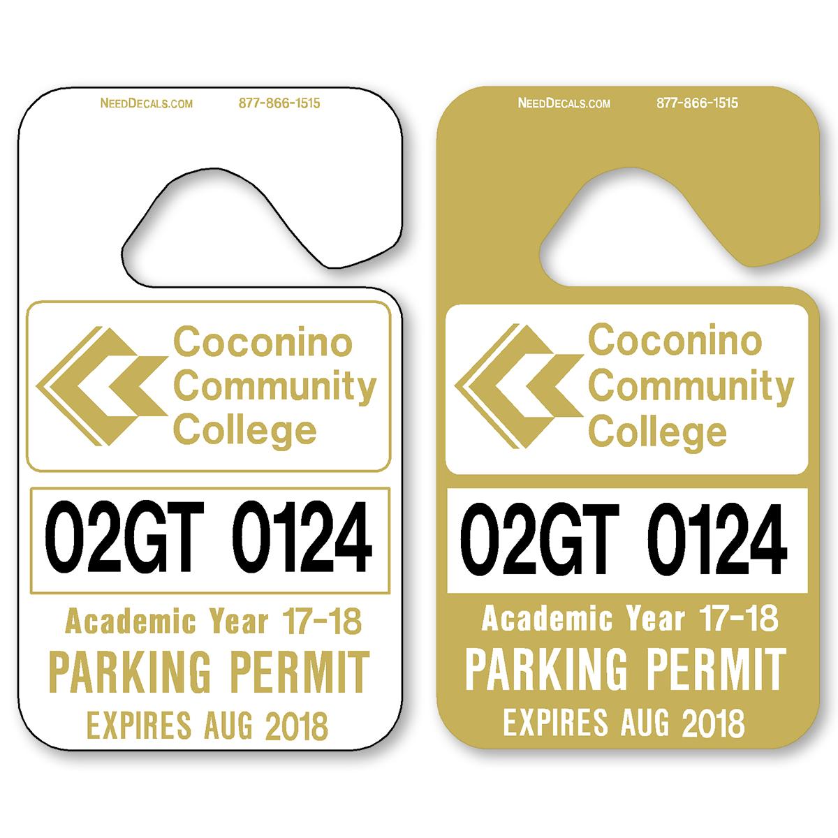 Metallic Gold Hanging Parking Permits - Standard