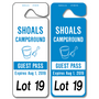 Large Carpool Hang Tags allow endless design possibilities and project a professional image. Available in over 30 Stock Ink Colors or unlimited custom colors. These durable Parking Hang Tags are printed on heavy duty .035 inch material to give you the strongest parking permit available. Order today and get Free Setup, Free Numbering and Free Logo.