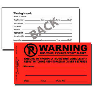 Our PV-01 Parking Violation Notice Stickers are the perfect way to notify offenders that they have improperly parked.