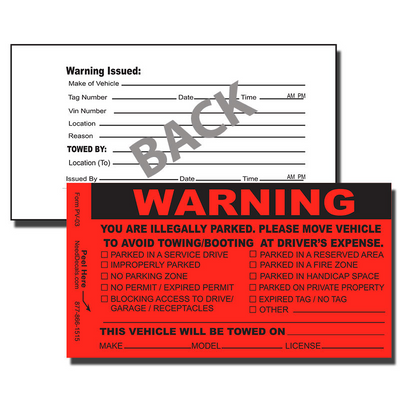 Our PV-03 Parking Violation Stickers / Parking Infringement Stickers are designed to notify offenders that they have improperly parked.