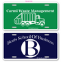 Custom One Color License Plates are printed on hi impact .035 Polyethylene with your graphics. License plates are perfect for car dealerships, schools, clubs, fundraisers etc. Order yours today.