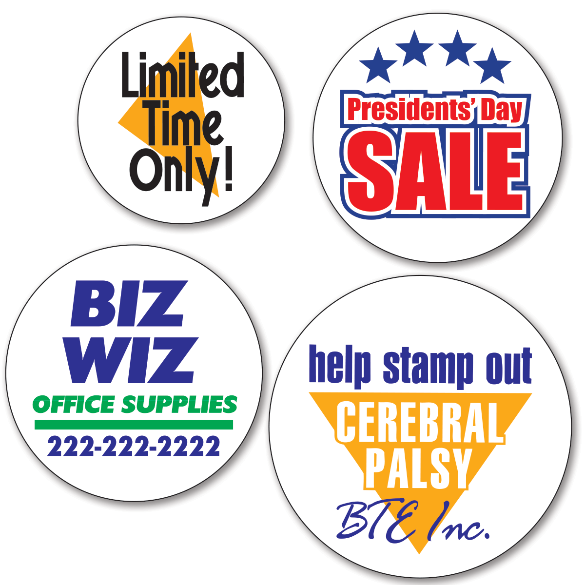Mini custom round labels two color