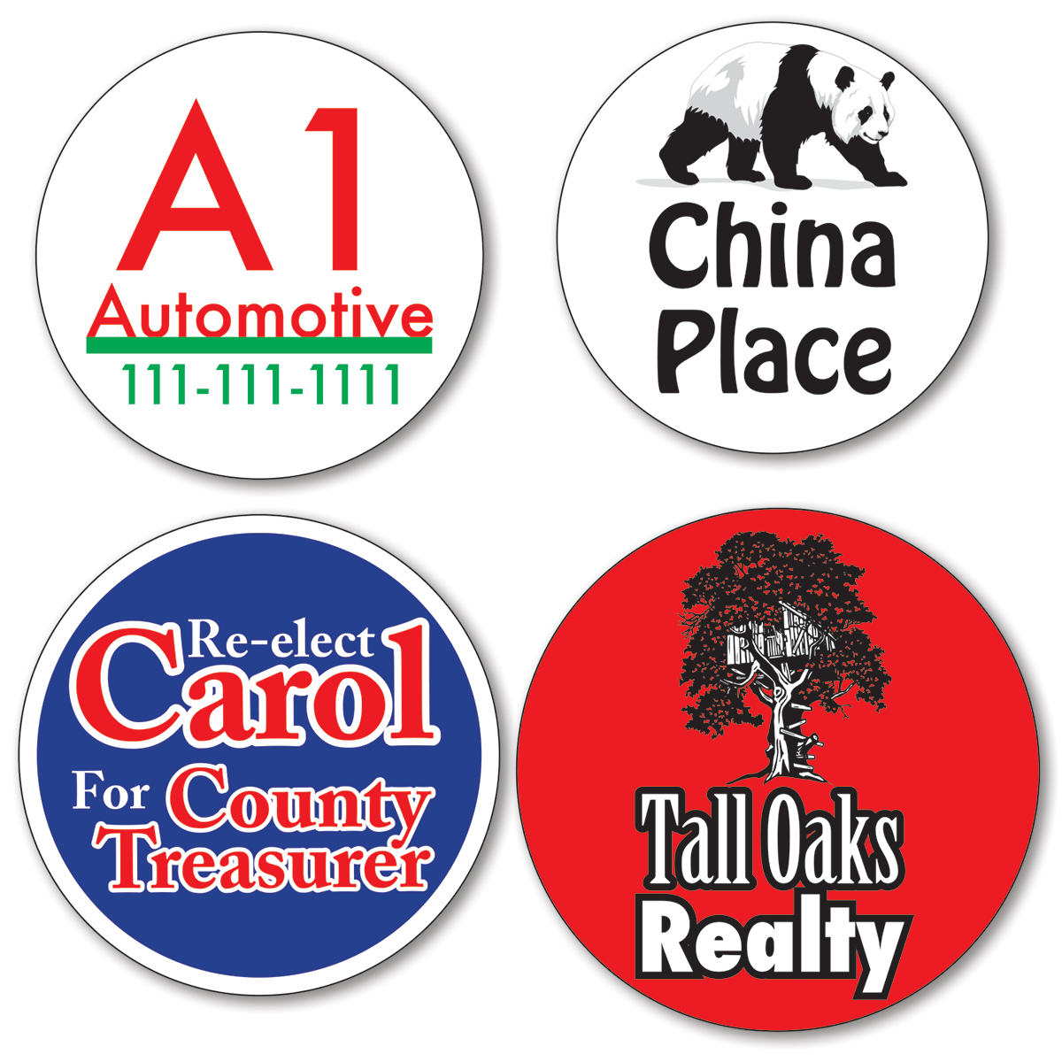 Custom round stickers larger 11 01 16 sq inches two color