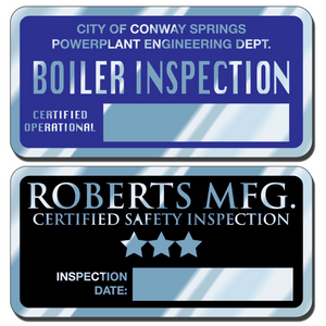 Write-On Aluminum Decals can be embossed using a ballpoint pen or typewriter. These write-on aluminum decals are a great way to display your company information and phone numbers. Worker safety depends on proper inspections that can be easily documented with these write-on aluminum decals