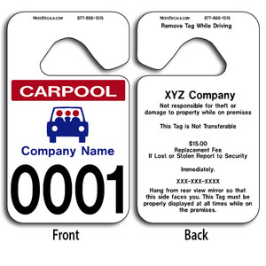 These durable Car Rider Hang Tags are UV laminated front and back to give you the strongest parking permit available. Order today and get Free Numbering and Free Back Printing.