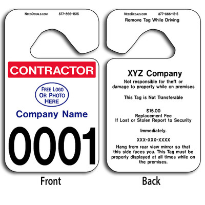 These durable Custom Parking Hang Tags are UV laminated front and back to give you the strongest parking permit available. Order today and get Free Numbering and Free Back Printing.