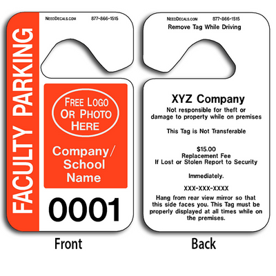 4-Color Process Custom Faculty Parking Permit Hang Tags allow endless design possibilities and project a professional image. Free Numbering, Free Logo and Free Back Printing.