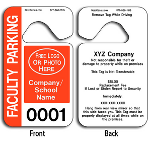 Faculty Parking Permit Hang Tags allow endless design possibilities and project a professional image. Free Numbering, Free Logo and Free Back Printing.