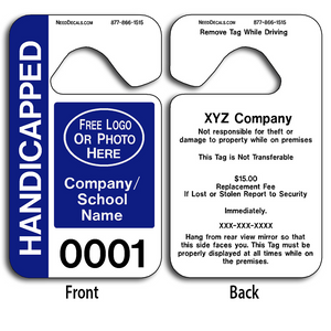 These durable Custom Handicap Parking Hang Tag Permits are UV laminated front and back to give you the strongest parking permit available. Order today and get Free Numbering and Free Back Printing.