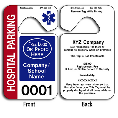 4-Color Process Custom Hospital Parking Permit Hang Tags allow endless design possibilities and project a professional image.