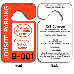 4-Color Process Custom Job Site Parking Permit Hang Tags allow endless design possibilities and project a professional image.