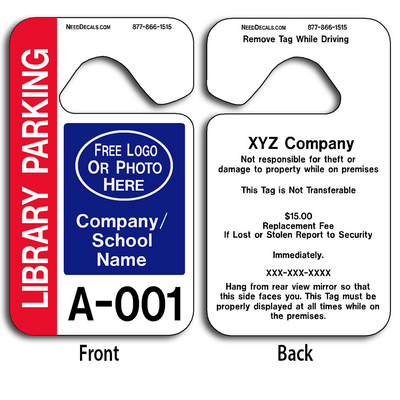 These durable Mirror Hang Tags are UV laminated front and back to give you the strongest parking permit available. Order today and get Free Numbering and Free Back Printing.