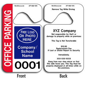 Full Color Parking Hang Tag Printing allow endless design possibilities and project a professional image. These durable Parking Hang Tag Printing are UV laminated front and back to give you the strongest parking permit available.