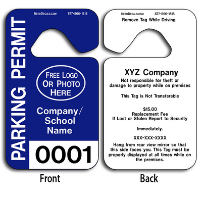 These durable Parking Permit Tag are UV laminated front and back to give you the strongest parking permit available. Order today and get Free Numbering and Free Back Printing.