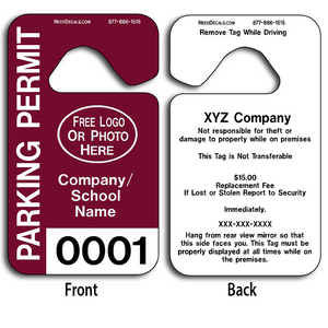 These durable Parking Placards are UV laminated front and back to give you the strongest parking permit available. Order today and get Free Numbering and Free Back Printing. These Hang Tags measure are 2 3/4 x 4 3/4 inches.