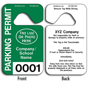 These durable Parking Hang Tags are UV laminated front and back to give you the strongest parking permit available. Order today and get Free Numbering and Free Back Printing.