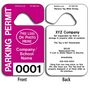 4-Color Process Plastic Hang Tag Parking Permits allow endless design possibilities and project a professional image.