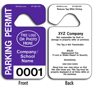 These durable Plastic Hanging Parking Permits are UV laminated front and back to give you the strongest parking permit available. Order today and get Free Numbering and Free Back Printing.