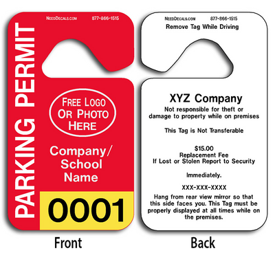 These durable Plastic Parking Hang Tags are UV laminated front and back to give you the strongest parking permit available. Order today and get Free Numbering and Free Back Printing.