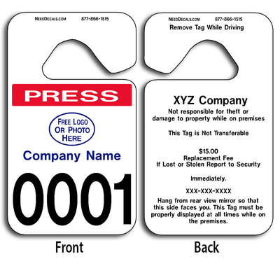 These durable Rear View Mirror Hang Tags are UV laminated front and back to give you the strongest parking permit available. Order today and get Free Numbering and Free Back Printing.