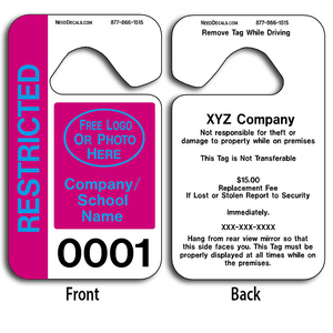 4-Color Process Custom Staff Parking Pass allow endless design possibilities and project a professional image. These durable Custom Staff Parking Pass are UV laminated front and back to give you the strongest parking permit available.